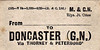 M&GN LUGGAGE/PARCEL LABEL - DONCASTER (GN) - via Thorney and Peterborough - print date 03/20.