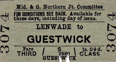 M&GN TICKET - LENWADE - Third Class Single to Guestwick - just two stops up the line - fare 1s 0 1/2d.