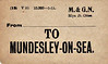 M&GN LUGGAGE/PARCEL LABEL - MUNDESLEY-ON-SEA - print date 05/15.