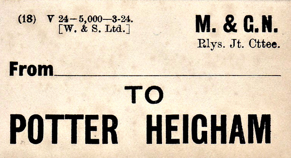 M&GN LUGGAGE/PARCEL LABEL - POTTER HEIGHAM - print date March 1924.
