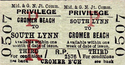M&GN TICKET - SOUTH LYNN - Third Class Privilege Return to Cromer Beach - this journey would have required a change at Melton Constable.