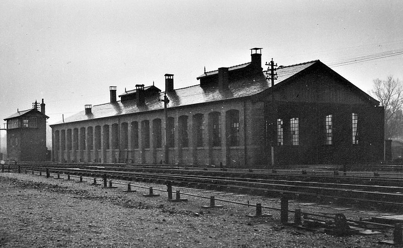 NORWICH CITY LOCOSHED - A large, three-road, single ended locoshed, built when the station was completed in 1882. It closed with closure of the system in February 1959.