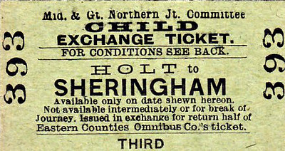 M&GN TICKET - HOLT - Third Class Single Child Exchange Ticket to Sheringham - I think the ticket explains it all!