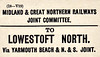 M&GN LUGGAGE/PARCEL LABEL - LOWESTOFT NORTH - via Yarmouth Beach & the Norfolk & Suffolk Joint - this was the first station out Lowestoft Central towards Yarmouth.