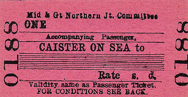 M&GN TICKET - CAISTER ON SEA -  Accompanying Passenger Ticket - required if travelling with a bike or a double bass or maybe a large dog that took up passenger space.