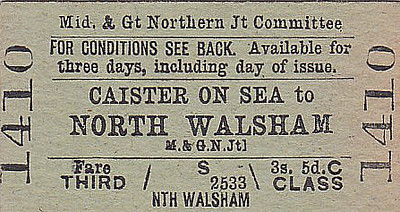M&GN TICKET - CAISTER ON SEA - Third Class Single to North Walsham, fare 3s 5d. As this is a journey of only 20 miles, 2d per mile seems quite expensive to me - that would probably be the equivalent of about £10 today.