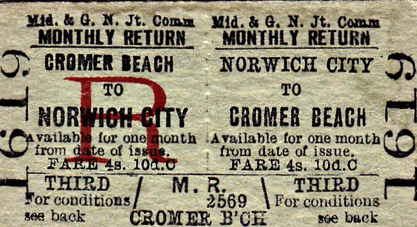 M&GN TICKET - NORWICH CITY - Third Class Monthly Return to Cromer Beach, fare 4s 10d.