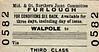 M&GN TICKET - WALPOLE - Third Class Furlough Single to blank destination.