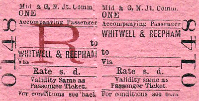 M&GN TICKET - WHITWELL & REEPHAM - Accompanying Passenger Ticket - required if travelling with a bike or a double bass or maybe a large dog that took up passenger space.