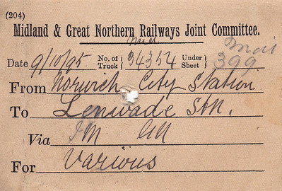 M&GN WAGON LABEL - NORWICH CITY to LENWADE - Midland Railway wagon no.34354 was sent from Norwich City to Lenwade on October 9th, 1895, consigned to various recipients.