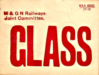 M&GN GOODS LABEL - GLASS - Print date April 1933.