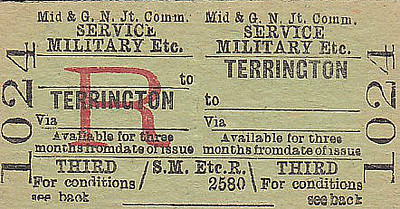 M&GN TICKET - TERRINGTON - Third Class Three Monthly Military Service Return. I should imagine that these tickets were paid for by the Military or that the soldier could claim the fare back.