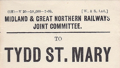 M&GN LUGGAGE/PARCEL LABEL - TYDD ST. MARY - printed 07/09. To the best of my knowledge, this station is known only as Tydd. Tydd St. Mary is about 2 miles away, Tydd Gote and Foul Anchor being much closer. In fact, Sutton Bridge is probably closer that Tydd St. Mary!