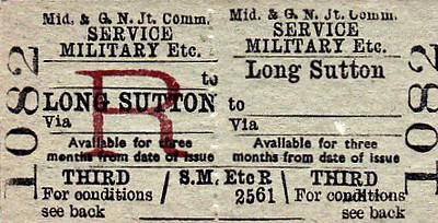 M&GN TICKET - LONG SUTTON - Third Class Military Service Return.
