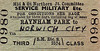 M&GN TICKET - RAYNHAM PARK - Third Class Military Service Single to Norwich City.