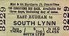 M&GN TICKET - EAST RUDHAM - Third Class Single to South Lynn, fare 2s 6d.