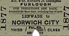 M&GN TICKET - LENWADE - Third Class Furlough Single to Norwich City - clipped but not dated.