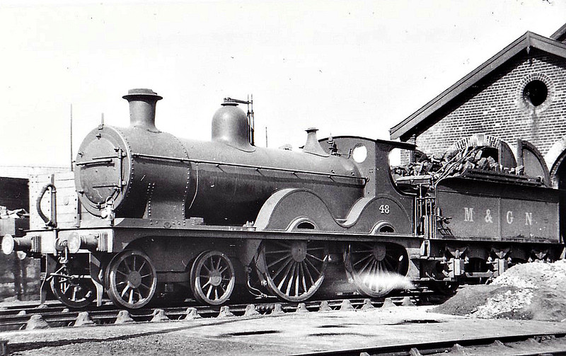 M&GN - 48 - Johnson Class C LNER Class D52 4-4-0 - built 1894 by Sharp Stewart & Co., Works No.3998, as M&GN No.48 - 1911 rebuilt - LNER No.048 not applied - 11/37 withdrawn from New England - seen here at Peterborough Spital Bridge.