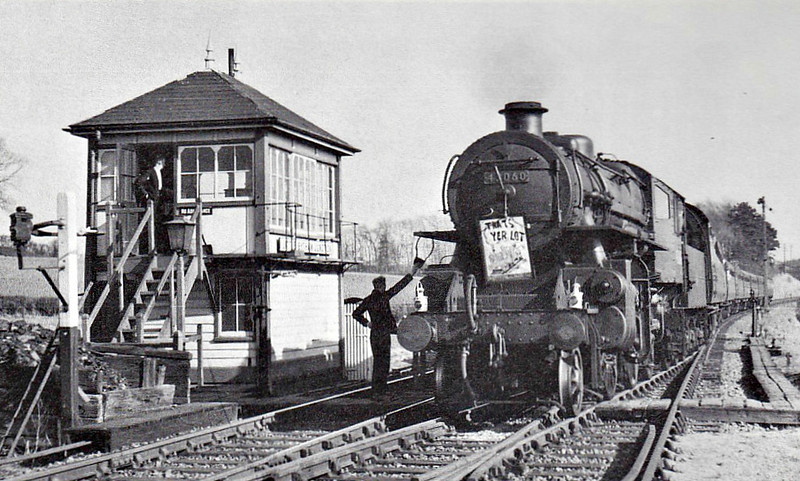 BR - 43060 - BR Ivatt Class 4MT 2-6-0 - built 10/50 by Doncaster Works - 12/64 withdrawn from 40E Colwick - seen here on the last Leicester collecting the single line tablet at Little Bytham.