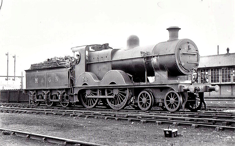 M&GN - 56 - Johnson M&GN Class C LNER Class D54 4-4-0 - built 1896 by Sharp Stewart & Co., Works No.4195 - 1912 rebuilt with Belpaire boiler to Class D54, 1929 rebuilt - 02/37 to LNER No.056 - 11/43 withdrawn from Melton Constable - seen here at South Lynn, 04/36.