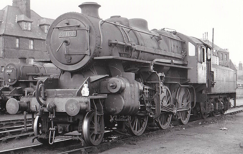 BR - 43108 - BR Ivatt Class 4MT 2-6-0 - built 05/51 by Doncaster Works - 11/65 withdrawn from 41J Langwith Junction - seen here at Yarmouth Beach, 1955.