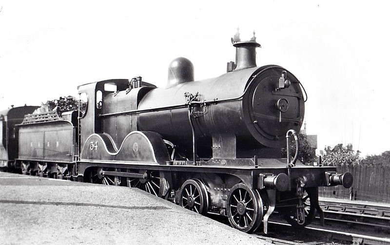 M&GN - 54 -Johnson M&GN Class C LNER Class D54 4-4-0 - built 1896 by Sharp Stewart & Co., Works No.4193 - 1914 rebuilt with Belpaire boiler as Class D54 - 01/37 to LNER No.054 - 10/39 withdrawn from Melton Constable  - seen here at Melton Constable, 08/29.