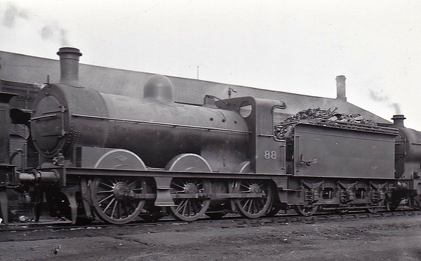 M&GN - 88 - Ivatt M&GN Class Da 0-6-0 - built 10/00 by Dubs & Co., Works No.3940, as M&GN No.88 - 1920 rebuilt - 1936 to LNER Class J3 No.088, 06/46 to LNER No.4163 - BR No.64163 not applied - 01/49 withdrawn - seen here at Peterborough Spital Bridge - note Deeley smokebox door.