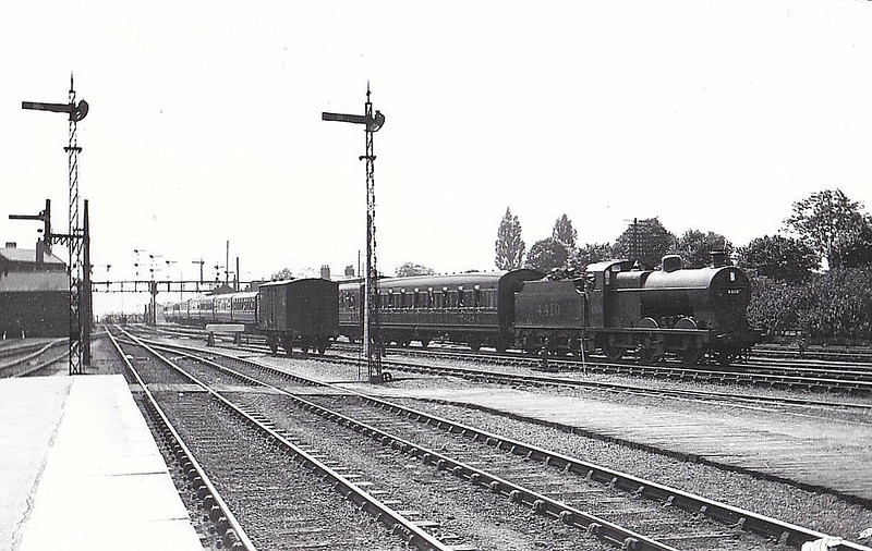 LMS - 4419 - Fowler LMS Class 4F 0-6-0 - built 09/27 by Derby Works - 09/49 to BR No.44419 - 09/63 withdrawn from 21A Saltley - seen here at Spalding on a lengthy special for Skegness, having just come off the M&GN, 06/33.