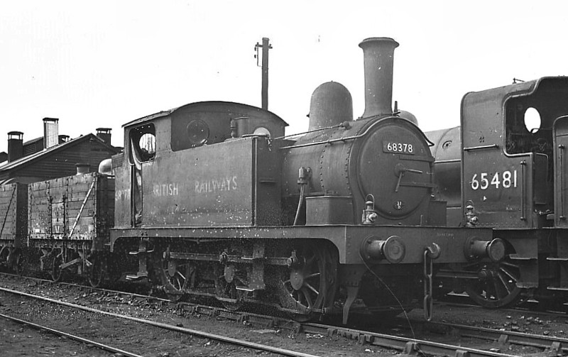 BR - 68378 - Holden GER Class T18 LNER Class J66 0-6-0T - built 60/1888 by Stratford Works as GER No.307 - 1924 to LNER No.7307, 06/46 to LNER No.8378, 07/49 to BR No.68378 - 09/52 withdrawn from 31D South Lynn, to Departmental No.36, Stratford Works Shunter - 01/59 withdrawn - seen here at South Lynn, 05/52.