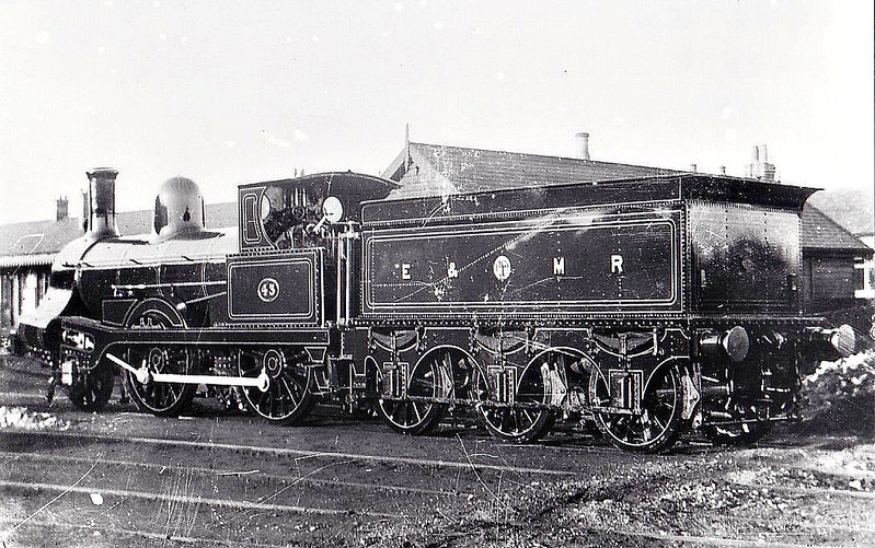 E&MR - 43 - Lancaster & Carlisle Railway 2-4-0 - built 1857 by Rothwell & Co. to Allan's 'Crewe' design as L&CR No.8 - 1857 to LNWR No.384 LUCK OF EDENHALL - later No.1802, then No.1112 and rebuilt by Webb - 11/1883 bought by the E&MR and renumbered No.30, 1886 to E&MR No.43, 1894 to M&GNJR as No.43A - 1899 withdrawn.