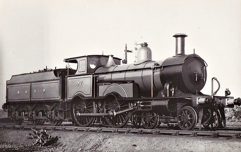 M&GN - 27 - Eastern & Midland Railway M&GN Class A 4-4-0 - built 1883 by Beyer Peacock Ltd., Works No.2340, as E&MR No.27 - LNER No.027 not applied - 02/37 withdrawn - seen here after rebuild with extended smokebox, extended cab roof, round cab windows, sandboxes to the rear of the splashers for tender-first running and removal of numberplates.