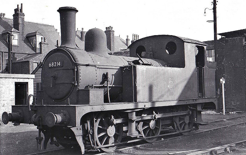 BR - 68214 - Holden GER Class J65 0-6-0T - built 03/18903 by Stratford Works as GER No.250 - 1924 to LNER No.7250, 06/46 to LNER No.8214, 08/51 to BR No.68214 - 10/56 withdrawn from 32F Yarmouth Beach, where seen 09/55.