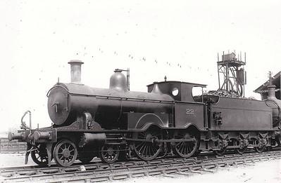M&GN - 22 - Lynn & Fakenham Railway M&GN Class A 4-4-0 - built 1881 by Beyer Peacock Ltd., Works No.2106, as L&FR No.22 - LNER No.022 not applied - 1936 withdrawn - seen here at South Lynn.