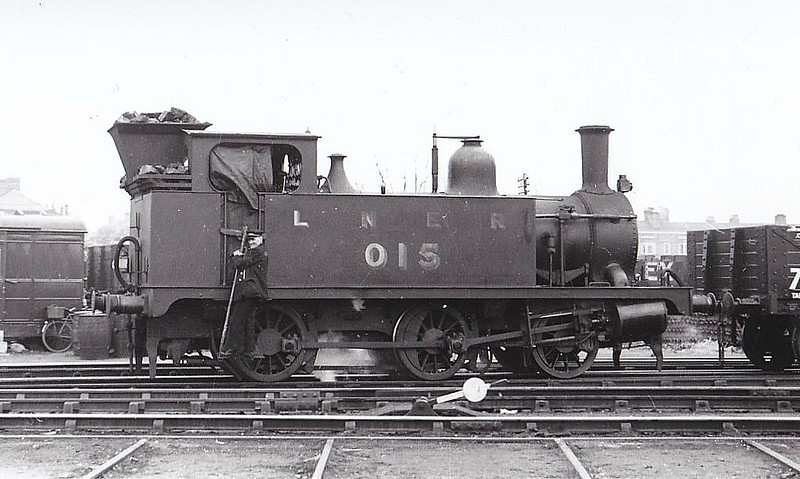 LNER - 015 - Marriott LNER Class J93 0-6-0T - built 01/01 by Melton Constable Works as M&GN No.15 - 11/37 to LNER No.015, LNER No.8486 not applied - 12/45 withdrawn from Yarmouth Beach MPD - seen here at Norwich City, 03/39.