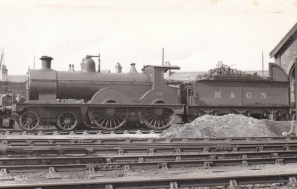 M&GN - 48 - Johnson Class C LNER Class D52 4-4-0 - built 1894 by Sharp Stewart & Co., Works No.3998, as M&GN No.48 - 1911 rebuilt - LNER No.048 not applied - 11/37 withdrawn from New England.