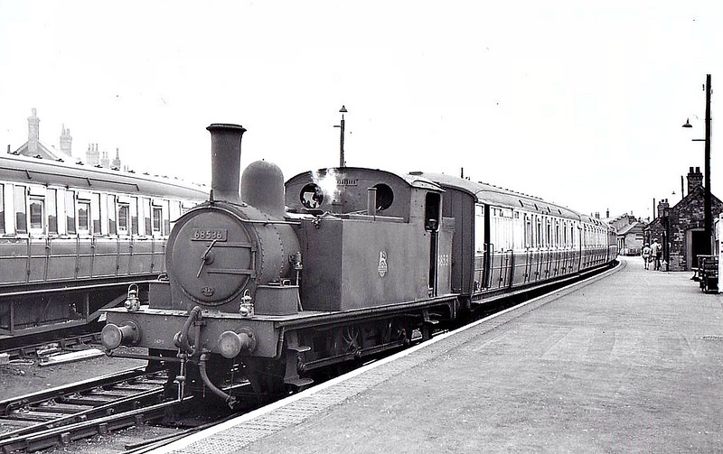 BR - 68536 - Holden GER Class J67 0-6-0T - built 04/1892 by Stratford Works as GER No.359 - 1924 to LNER No.7359, 04/46 to LNER No.8536, 06/49 to BR No.68536 - 02/58 withdrawn from 32G Melton Constable, where seen.