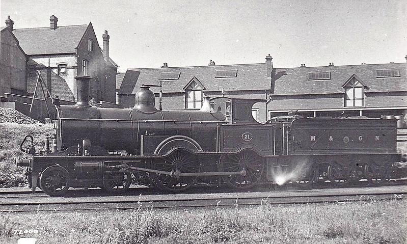 M&GN - 21 - Lynn & Fakenham Railway M&GN Class A 4-4-0 - built 1881 by Beyer Peacock Ltd., Works No.2105, as L&FR No.21 - LNER No.021 not applied - 1936 withdrawn - seen here as built at Cromer Beach.