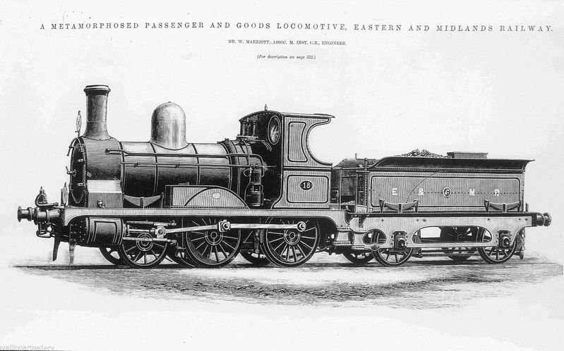 E&MR - 18 -  Class CM 0-6-0T with tender - built 1873 by Sharp Stewart & Co. as Cornish Mineral Railways 0-6-0T - 1881 sold to Lynn & Fakenham Railway, fitted with tender supplied by Sharp Stewart & Co. - 1894 passed into ownership of M&GNJR, to No.18A - 1890 rebuilt as 2-4-0, larger driving wheels fitted, side tanks removed - 1895 withdrawn - drawing by Mr Marriott.