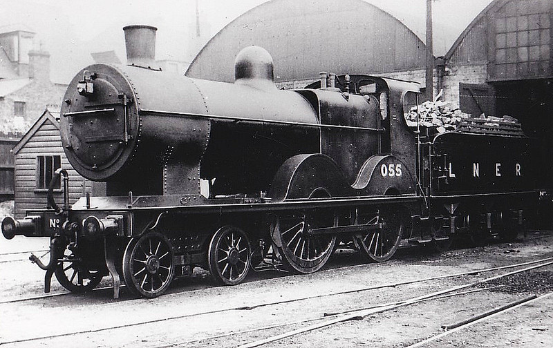 LNER - 055 - Johnson M&GN Class C LNER Class D54 4-4-0 - built 1896 by Sharp Stewart & Co., Works No.4194 - 1908 rebuilt, 07/25 rebuilt with Belpaire boiler to Class D54 - 04/37 to LNER No.055 - 11/43 withdrawn from Melton Constable - note stovepipe chimney.