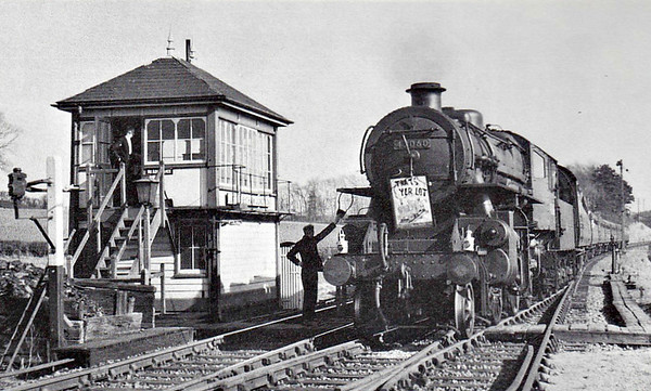BR - 43060 - BR Ivatt Class 4MT 2-6-0 - built 10/50 by Doncaster Works - 12/64 withdrawn from 40E Colwick - seen here on the last Birmingham collecting the single line tablet at Little Bytham.