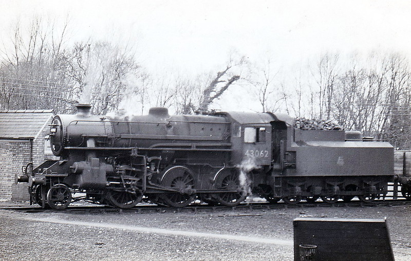 43062 - BR Ivatt Class 4MT 2-6-0 - built 11/50 by Doncaster Works - withdrawn 06/65 from 41E Staveley - 35A New England loco from new to 01/58 - seen here at Spalding in 1952.