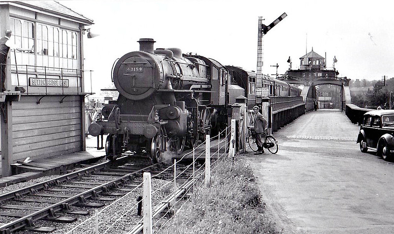 BR - 43159 - BR Ivatt Class 4MT 2-6-0 - built 08/52 by Doncaster Works - withdrawn 06/65 from 41E Staveley - M&GN loco from new to 04/59 - seen here at Sutton Bridge East Box.