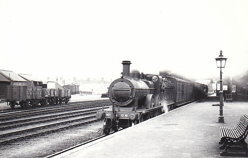 LNER - 0 6 -Johnson Class C LNER Class D53 4-4-0 - built 1894 by Sharp Stewart & Co., Works No.4006, as M&GN No.6 - 1912 rebuilt, 1930 rebuilt with Belpaire boiler to Class D53 - 10/37 to LNER No.06 - 03/44 withdrawn - seen here at Melton Constable, 03/39.