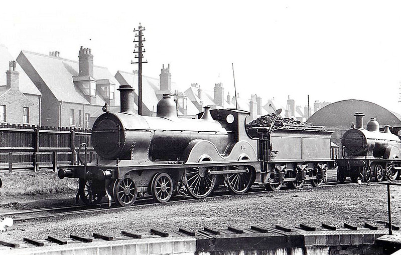 M&GN - 14 - Johnson Class C LNER Class D52 4-4-0 - built 1894 by Sharp Stewart & Co., Works No.4011, as M&GN No.14 - 1928 rebuilt - LNER No.014 not applied - 02/37 withdrawn from Melton Constable - seen here at Yarmouth Beach, 04/34.