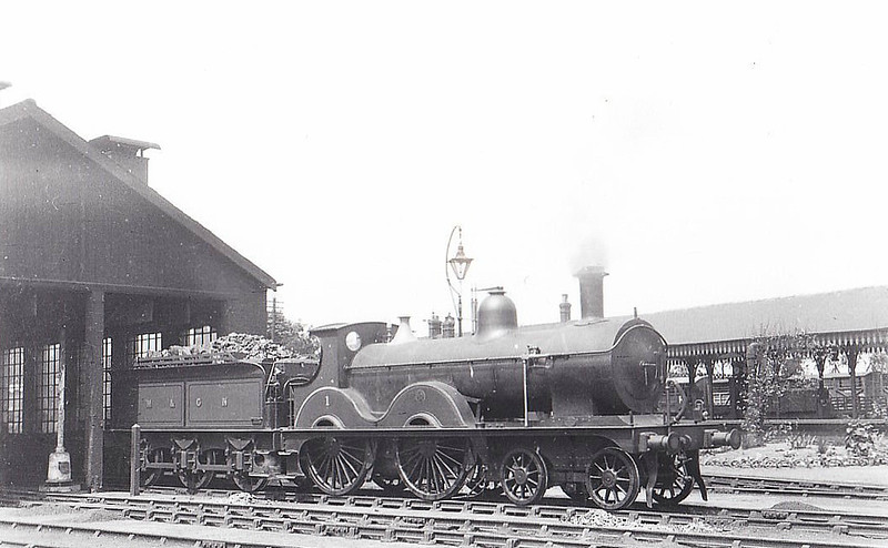 M&GN -  1 - Johnson Class C LNER Class D52 4-4-0 - built 1894 by Sharp Stewart & Co., Works No.4001, as M&GN No.1 - rebuilt in 1910, 1924 and 1931 - 10/36 to LNER No.01 - 11/37 withdrawn from Yarmouth Beach - seen here at Melton Constable, 06/29,