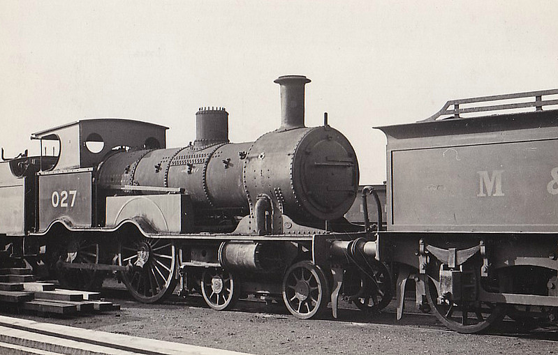 LNER - 027 - Eastern & Midland Railway M&GN Class A 4-4-0 - built 1883 by Beyer Peacock Ltd, Works No.2340, as E&MR No.27 - LNER No.027 not applied - 02/37 withdrawn - seen here at Stratford Works, 04/37.