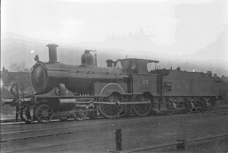 M&GN - 22 - Lynn & Fakenham Railway M&GN Class A 4-4-0 - built 1881 by Beyer Peacock Ltd., Works No.2106, as L&FR No.22 - LNER No.022 not applied - 1936 withdrawn.