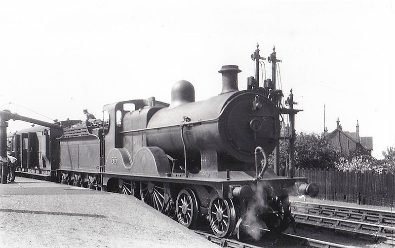 M&GN - 55 - Johnson M&GN Class C LNER Class D54 4-4-0 - built 1896 by Sharp Stewart & Co., Works No.4194 - 1908 rebuilt, 07/25 rebuilt with Belpaire boiler to Class D54 - 04/37 to LNER No.055 - 11/43 withdrawn from Melton Constable - seen here at Melton Constable, 06/29.