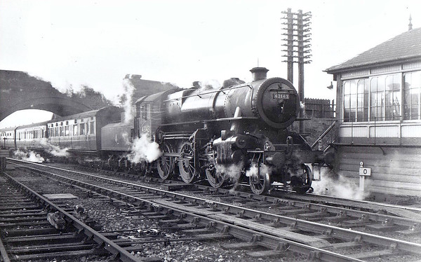 BR - 43143 - BR Ivatt Class 4MT 2-6-0 - built 08/51 by Doncaster Works - withdrawn 06/65 from 41E Staveley (Barrow Hill) - this engine was a 31D South Lynn engine from new until the M&GN closure - seen here arriving at Saxby with a westbound train, passing milepost 0.
