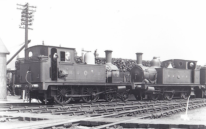 M&GN -  9A - Bromley Lynn & Fakenham Railway M&GN Class B 4-4-0T - built 06/1879 by Hudswell Clarke Ltd, Works No.211, as L&FR No.9 FAKENHAM - 1909 to M&GN No.9A - 1933 withdrawn - regular engine on the Mundesley branch in later years - seen here at Melton Constable in 1929 with Class J93 No.16.